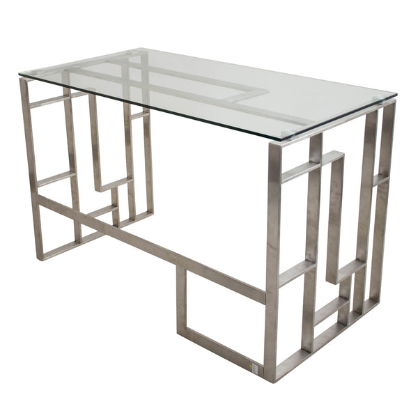 Mandarin Tempered Clear Glass and Chrome Desk