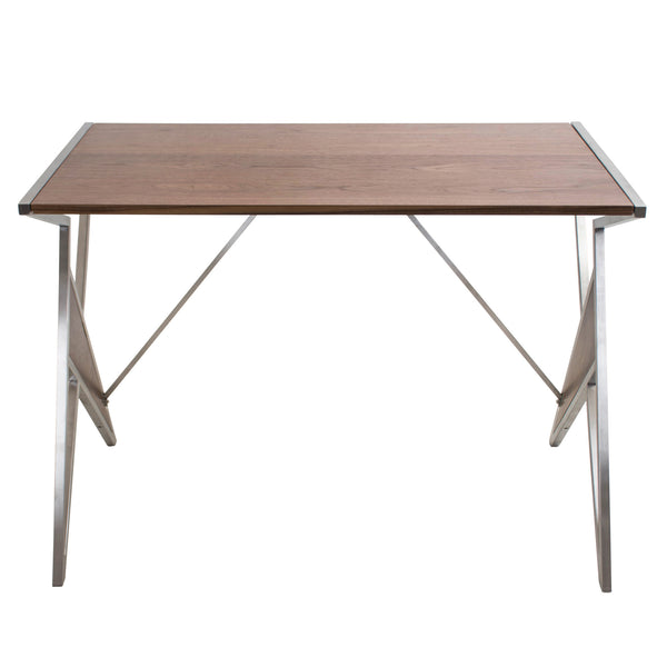 Tetra Contemporary Walnut Wood + Stainless Steel Desk