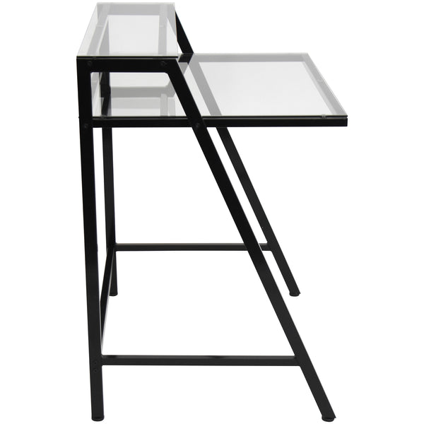 2-Tier Metal and Tempered Glass Desk Black or White