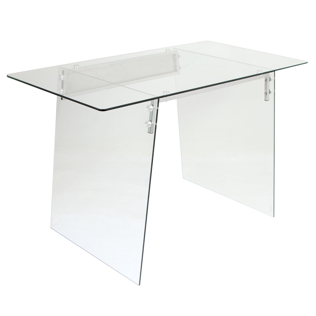 Glacier Chrome and Tempered Clear Glass Desk