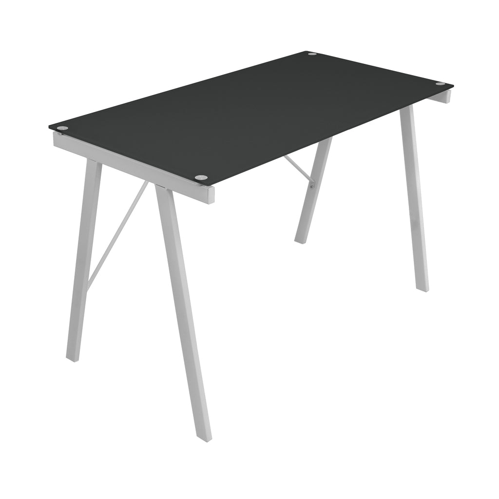 Exponent Glass and Steel Desk in Black or White