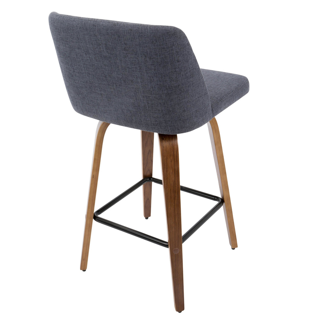 Groovy Toriano Mid Century Modern Counter Stool In Walnut And Blue Fabric Set Of 2 Squirreltailoven Fun Painted Chair Ideas Images Squirreltailovenorg