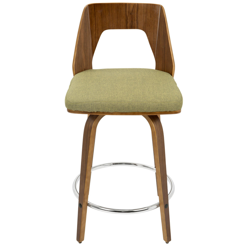 Terrific Trilogy Mid Century Modern Counter Stool In Walnut And Brown Cream Faux Leather Or Green Orange Fabric Set Of 2 Squirreltailoven Fun Painted Chair Ideas Images Squirreltailovenorg