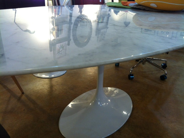 White Carrara Marble Tulip Dining Table Aluminum Base Saarinen Style MANY SIZES
