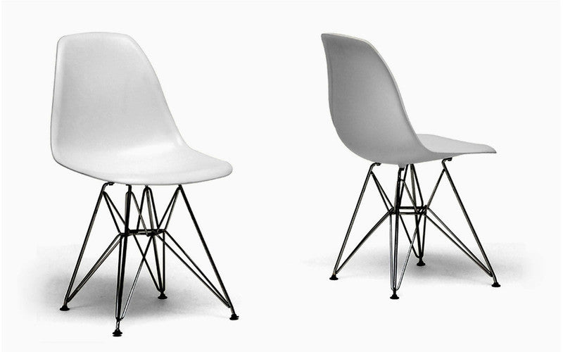 Set of 2 Side Chair Metal Base White Plastic Molded Eiffel