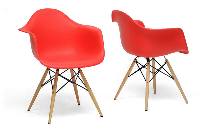 Set of 2 Arm Chair Red Plastic Molded Eiffel Wood Base