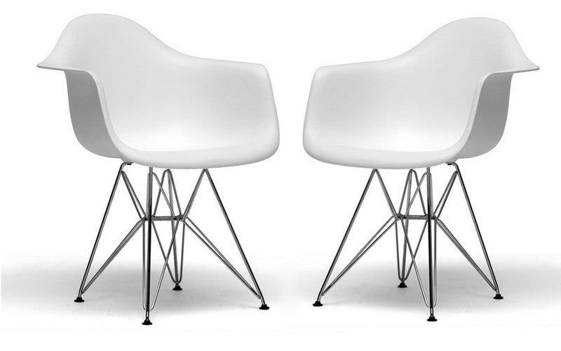 Set of 2 Arm Chair White Metal Base Plastic Molded Eiffel