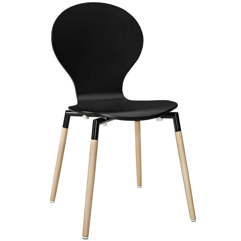 Bug Chair in Black, White or Red with Maple Legs