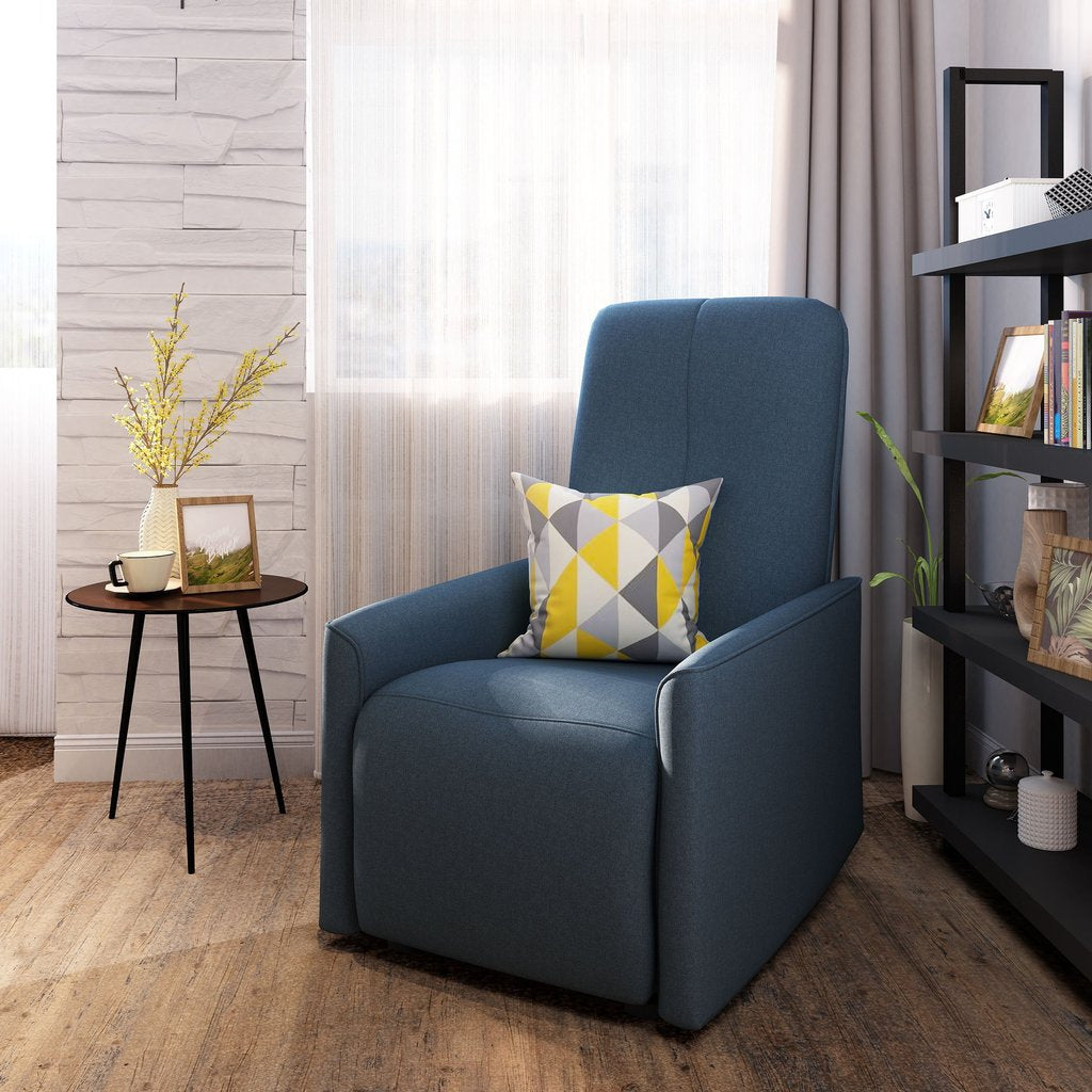 Traditional Fabric Recliner Chair in Navy Blue or Dark Gray