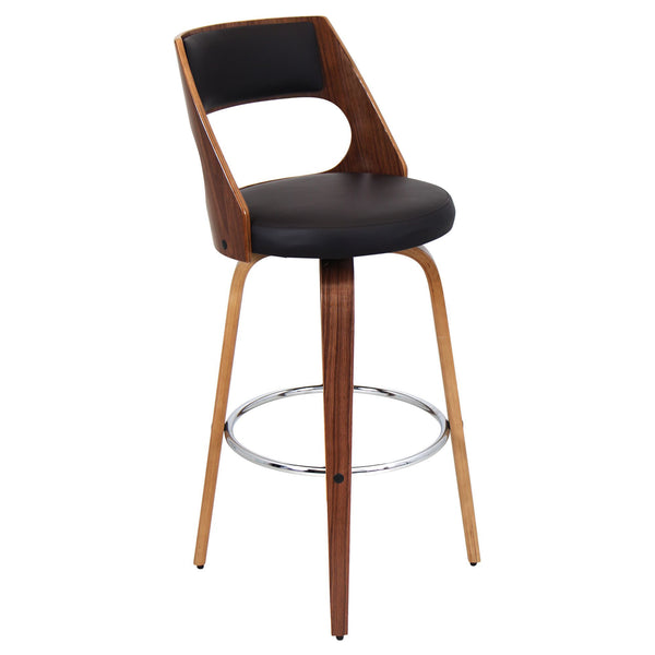 Cecina Bar Stool in Walnut and Dark Brown