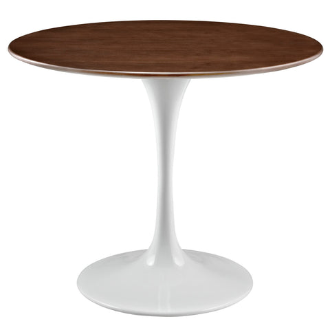 "Lippa 36"" / 47"" Round Walnut Dining Table White Base In Walnut Top"