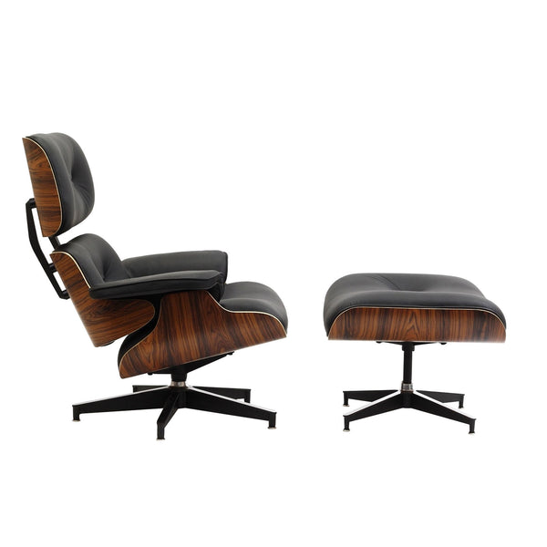 Eames Style Leather Lounge Chair and Ottoman Italian Leather Palisander or Walnut