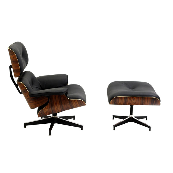Eames Style Leather Lounge Chair and Ottoman Italian Leather Palisander or Natural Walnut