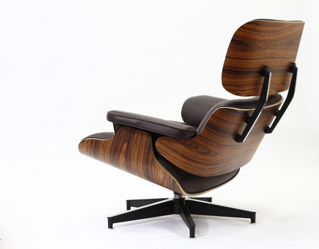 Magnificent Eames Style Leather Lounge Chair And Ottoman Italian Leather Palisander Or Natural Walnut Creativecarmelina Interior Chair Design Creativecarmelinacom