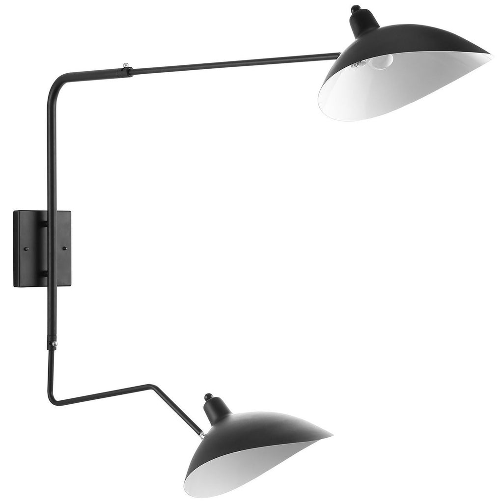 Mantis Two-Arm Wall Sconce Serge Mouille Style Black