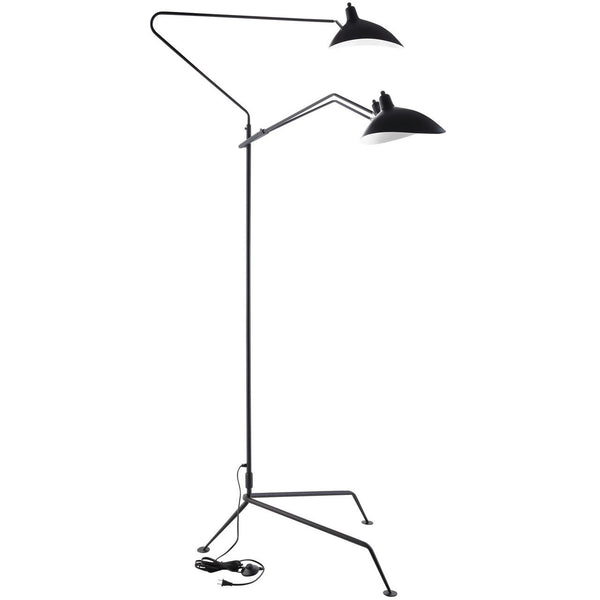 Mantis Three-Arm Floor Lamp Serge Mouille Style Black