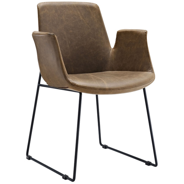Loft Dining Arm Chair in Distressed Leather-like Vinyl in Brown or Tan Color