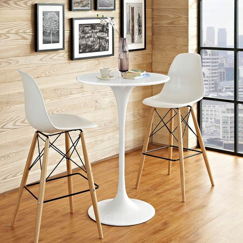 "LIPPA 28"" ROUND WOOD BAR TABLE IN WHITE"