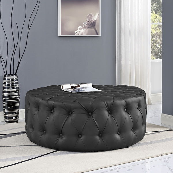 AMOUR VINYL OTTOMAN IN BLACK or WHITE