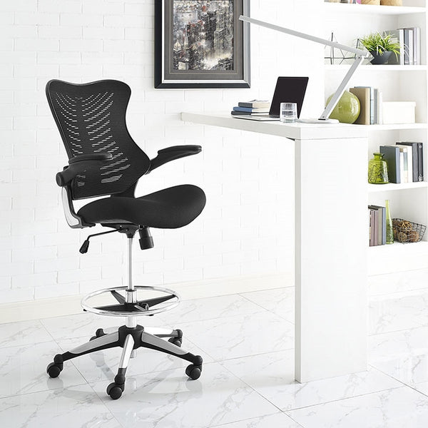 CHARGE DRAFTING STOOL IN BLACK