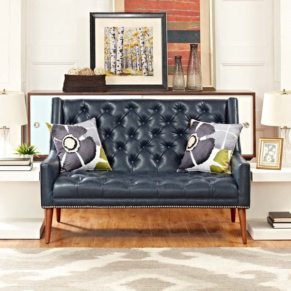PERUSE LOVESEAT IN BLUE/GRAY FAUX LEATHER
