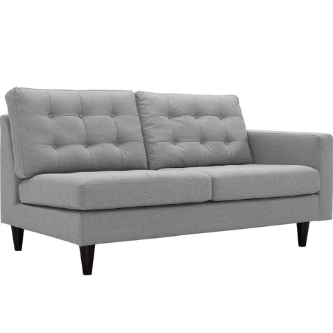 EMPRESS RIGHT-ARM FACING UPHOLSTERED FABRIC LOVESEAT IN MANY COLOR OPTIONS