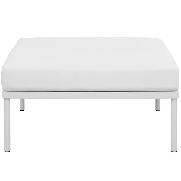 Harmony Outdoor Patio Aluminum Ottoman In White Beige, Gray, Navy, White