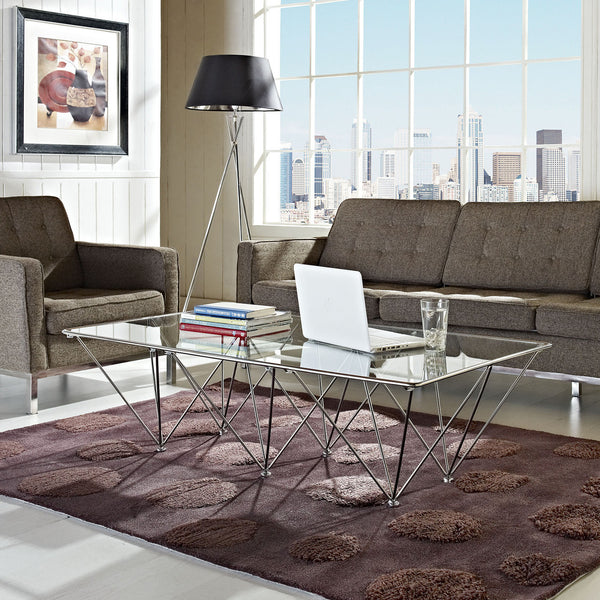 "Eiffel Coffee Table in 53""L x 30""W Stainless Steel and Glass Top"