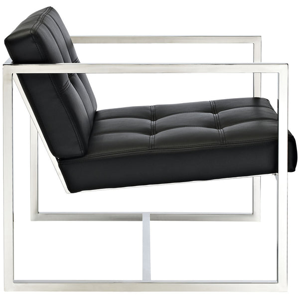 Delano Style Lounge Chair in Black Vinyl