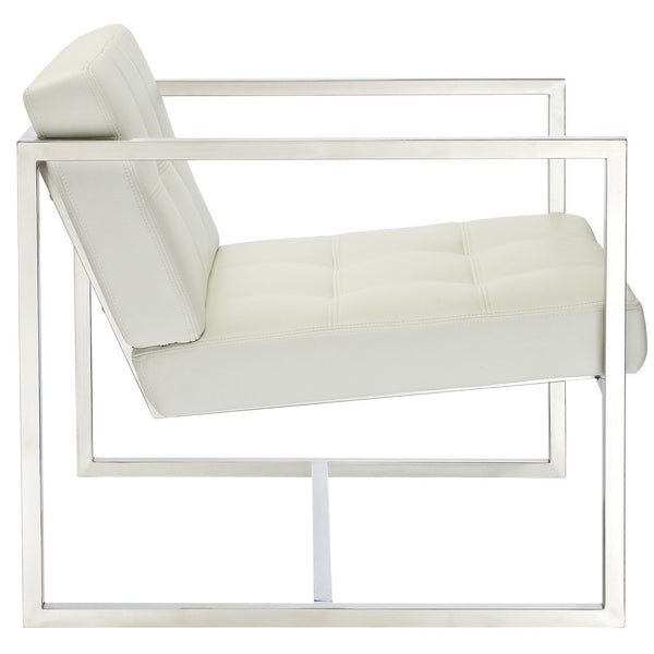 Delano Style Lounge Chair in White Vinyl