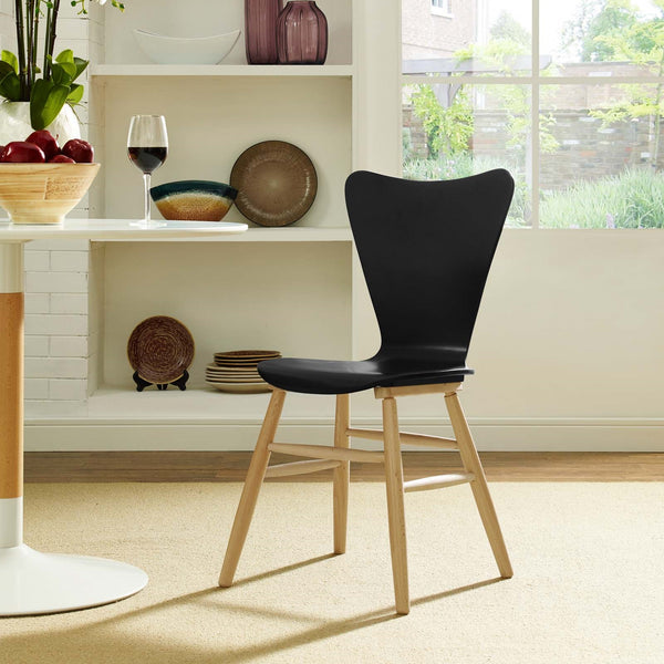 CASCADE WOOD DINING CHAIR IN WHITE, BLACK, GRAY, BLUE, RED
