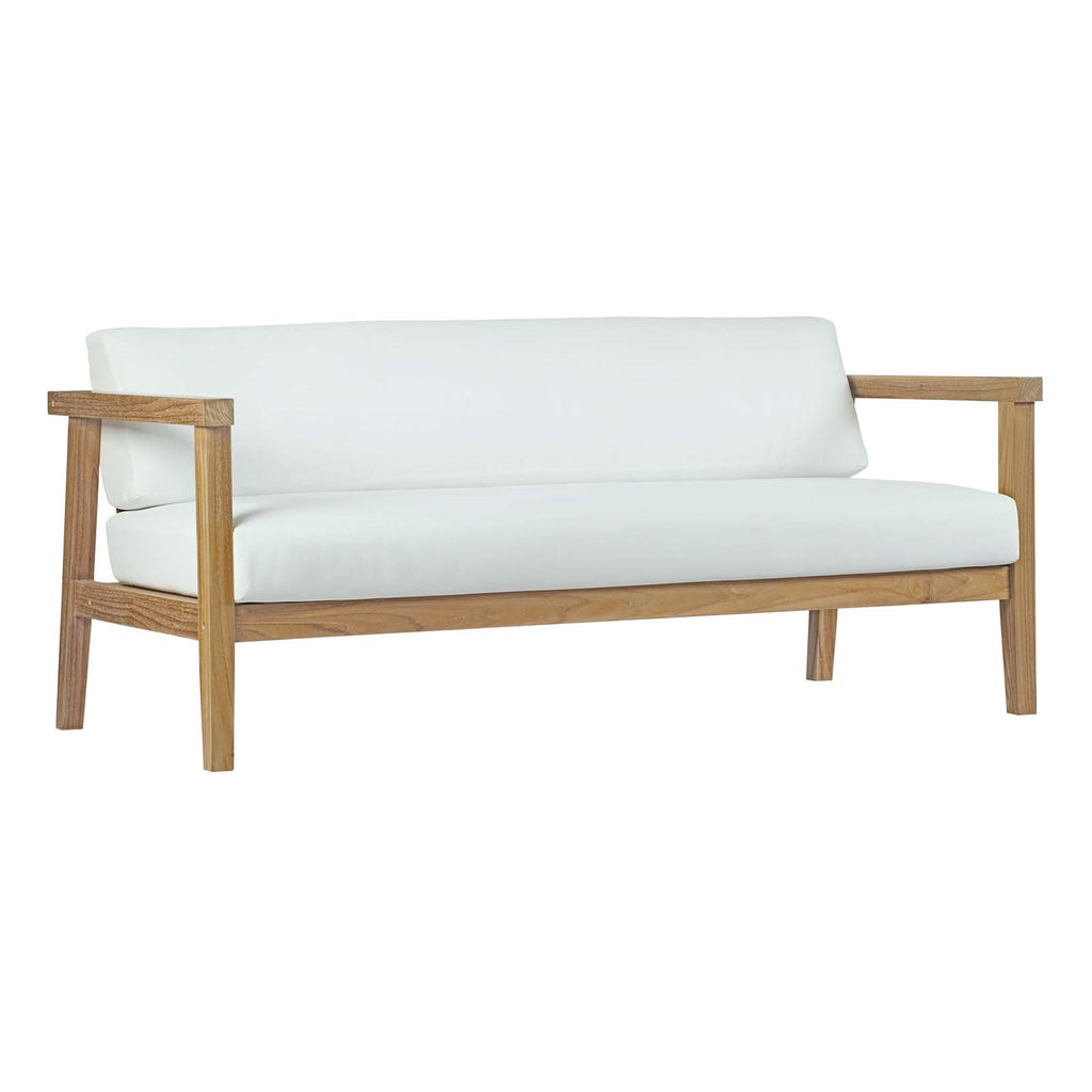 BAYPORT OUTDOOR PATIO TEAK LOVESEAT IN NATURAL WHITE
