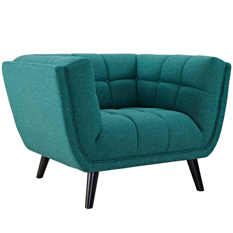 Bestow Upholstered Fabric Armchair In Blue/ Gray/ Teal