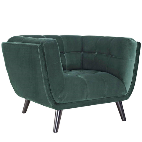BESTOW VELVET ARMCHAIR IN GRAY, GREEN AND NAVY