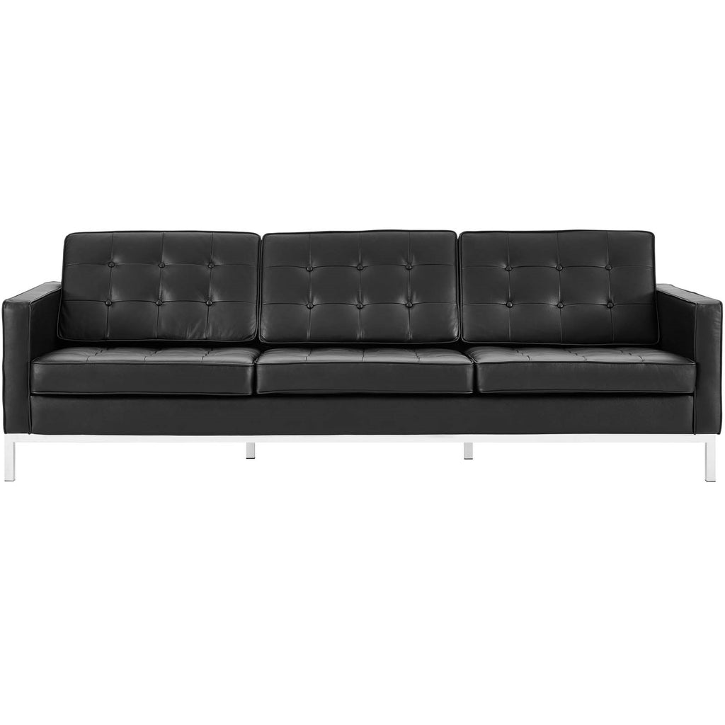 Florence Style Leather and Leather-match Sofa in Black or White