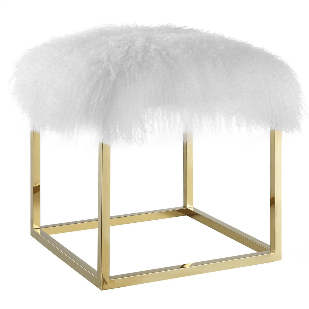 ANTICIPATE WHITE SHEEPSKIN OTTOMAN IN GOLD