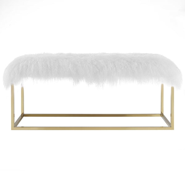 ANTICIPATE WHITE SHEEPSKIN BENCH IN GOLD