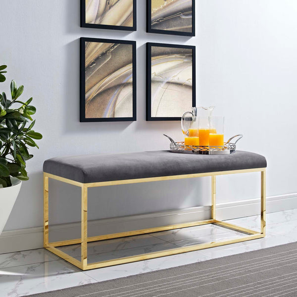 ANTICIPATE VELVET BENCH IN GOLD FRAME in MANY COLOR OPTIONS