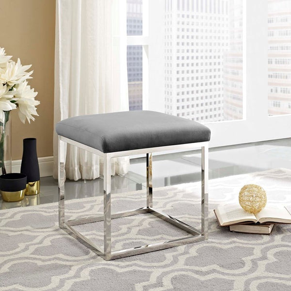 ANTICIPATE VELVET OTTOMAN IN SILVER FRAME in GRAY or SEA BLUE FABRIC