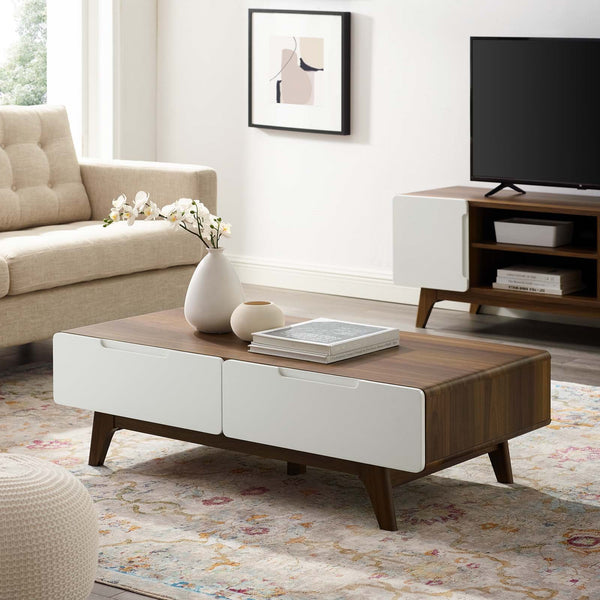 "ORIGIN 47"" COFFEE TABLE IN NATURAL+GREY / WALNUT+WHITE"