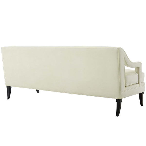 Concur Button Tufted Performance Velvet Sofa in Dusty Rose, Green, Gray, Ivory, Navy, Teal,