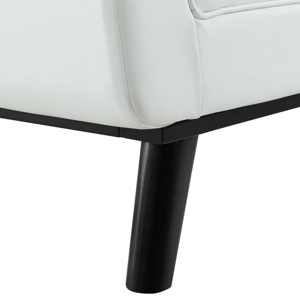Pleasing Haven Tufted Button Faux Leather Accent Bench In White Cjindustries Chair Design For Home Cjindustriesco