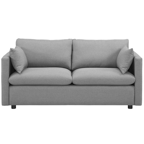 Activate Upholstered Fabric Sofa in Azure, Beige, Gray, Light Gray, Teal, White