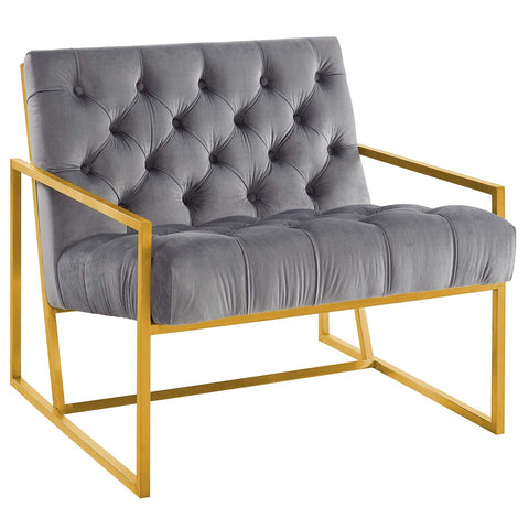 BEQUEST GOLD STAINLESS STEEL UPHOLSTERED VELVET ACCENT CHAIR IN MANY COLORS