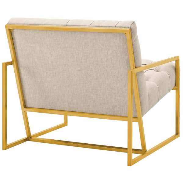 BEQUEST GOLD STAINLESS STEEL UPHOLSTERED FABRIC ACCENT CHAIR IN MANY COLORS