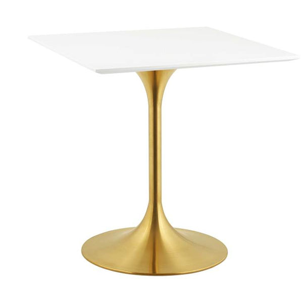 Lippa Square Dining Table in Gold Finish and White Top in 24, 28, 36""