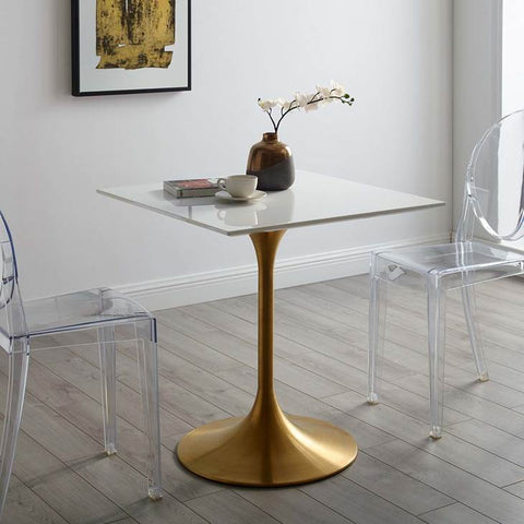 Lippa Square Dining Table in Gold Finish and White Top in MANY Sizes