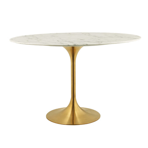 "Lippa Oval Dining Table In Gold Finish And White Artificial Marble Top In 48"", 54"", 60"", 78""L"