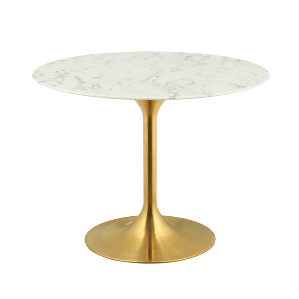"Lippa Round Dining Table In Gold Finish And White Artificial Marble Top In 28"", 36"", 40"", 47"", 54"", 60"""