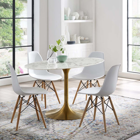 LIPPA OVAL DINING TABLE IN GOLD FINISH AND WHITE FAUX MARBLE TOP IN MANY SIZES
